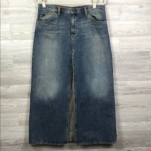 AG Long Split Denim Jean Vintage Western Skirt